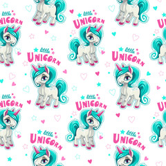 Cute seamless pattern with funny cartoon unicorns.