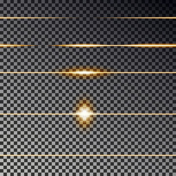 Yellow transparent lines effect collection. Flare light vector. Divider line seamless.