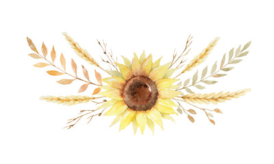 Watercolor wreath of leaves and branches isolated on white background.