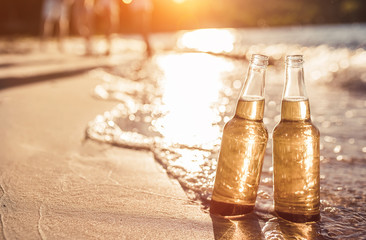 Bottles of beer on the beach