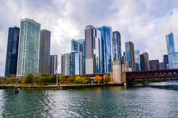 Chicago skyscrapers, Illinois state city, famous for the fountain and the magical colors of autumn, in the city park