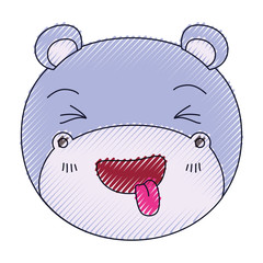 color crayon silhouette cute face of hippo sticking out tongue expression vector illustration