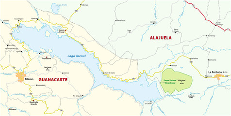 Administrative and political map of the environment of the Costa rican lake arenal
