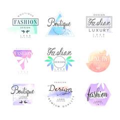 Fashion luxury boutique set for logo design, colorful vector Illustrations