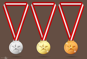 gold, silver and bronze medals.vector