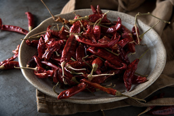 Red chilli pepper,dried chillies on dark background