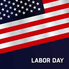 waving American flag with typography Labor Day, September 7th, United state of America, American Labor day design. Beautiful USA flag Composition. Labor Day poster design. Blue Background