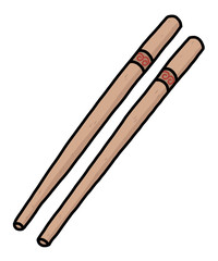 chopsticks / cartoon vector and illustration, hand drawn style, isolated on white background.