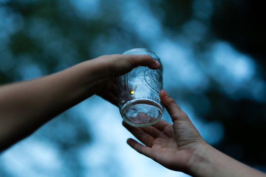 Children holding jar with firefly inside, close-up