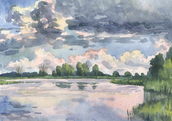 Summer landscape. Cloud over the lake. Watercolor painting