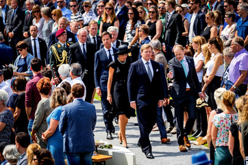 King Willem-Alexander and his wife Queen Maxima of the Netherlands attend an event to unveil a national monument to commemorate the victims of the Malaysia Airlines crash in Ukraine in 2014 in Vijfhuizen