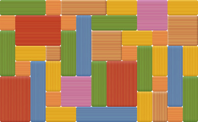 Wooden toy blocks - colorful seamless background, assembled with many wood textured rectangular items.