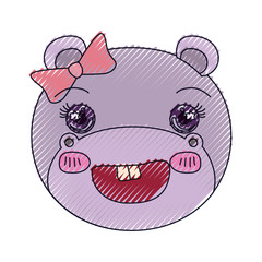 color crayon silhouette face of female hippo animal adorable expression vector illustration