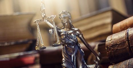 Lady Justice Statue in a courtroom