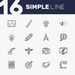 Set Of 16 Constructive Outline Icons Set.Collection Of Brain, Target, Inkwell With Pen And Other Elements.