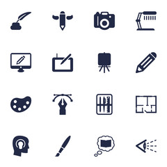 Set Of 16 Creative Icons Set.Collection Of Stand , Writing , Scheme Elements.