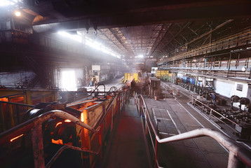 Casting and hardening of metal at a metallurgical plant