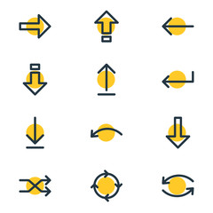Vector Illustration Of 12 Direction Icons. Editable Pack Of Down, Undo, Circle And Other Elements.