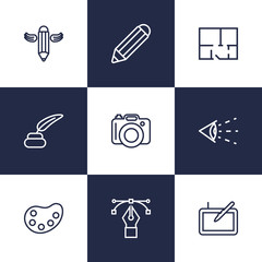 Set Of 9 Creative Outline Icons Set.Collection Of Pencil, Vision, Property Plan And Other Elements.