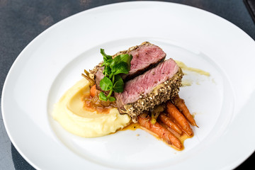 grilled tuna with baby carrot and mashpotato