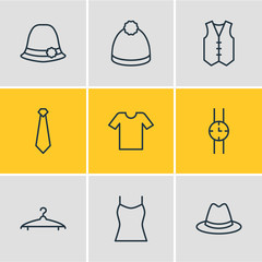Vector Illustration Of 9 Garment Icons. Editable Pack Of Waistcoat, Panama, Singlet And Other Elements.
