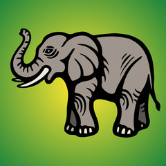 Elephant. Flat Image. Isolated object. Green background. Vector illustrations