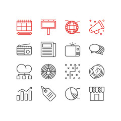Vector Illustration Of 16 Advertising Icons. Editable Pack Of Circle Diagram, Fm Broadcasting, Aiming And Other Elements.