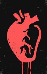 stylized anatomical heart tattoo art, graffiti style vector