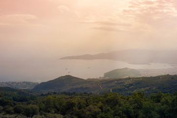 Panorama of the Greek city of Volos at sunset. Volos Greece. View from the mountain on the Volos