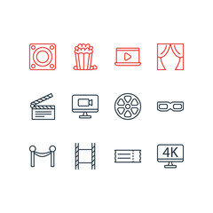 Vector Illustration Of 12 Film Icons. Editable Pack Of Snack, Movie Reel, Resolution And Other Elements.