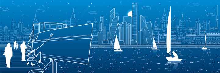 Ship on the river. People are walking on the pier. Yachts on the water. Modern city in the background. White lines infrastructure illustration. Vector design art