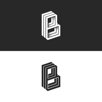 Letter B logo isometric lines geometric shape hipster monogram, simple linear typography black and white emblem, 3D black and white BBB mark initials emblem