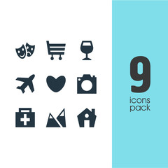 Vector Illustration Of 9 Check-In Icons. Editable Pack Of Landscape, Drugstore, Masks Elements.