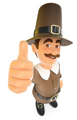 3D Thanksgiving man with thumb up