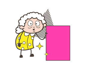 Cartoon Granny with Pink Banner Vector Illustration