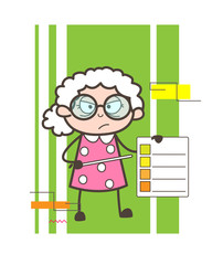 Cartoon Angry Granny Showing a Checklist Vector Illustration