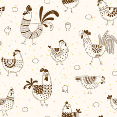 Seamless pattern with chickens, roosters, eggs in cartoon style, line art. Background for design cover product packaging, advertising banner, card