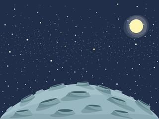 lunar landscape and sun