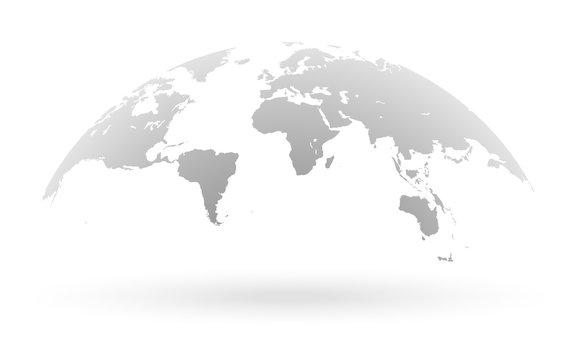 Grey world map globe isolated on white background