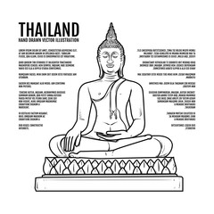 Buddha statue, Hand draw thai landmark Vector Illustration. Amazing thailand, buddha, Buddhism religion