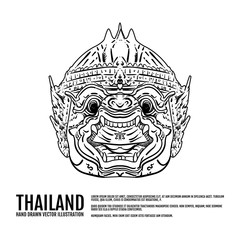 Hanuman, Ramayana, Hand draw thai landmark Vector Illustration. Amazing thailand, Thai classical monkey dance