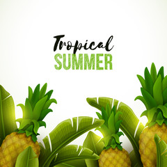 Colorful background with tropical fruits and palm leaves. Vector illustration.