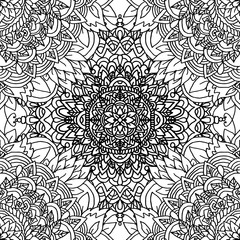 Abstract background. Vector illustration. Ethnic mandala monochrome seamless pattern. Indian ornament.