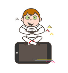 Cartoon Funny Astronaut Sitting Over Smartphone Vector Illustration