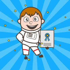 Cartoon Astronaut Showing a Reward Certificate Vector Illustration