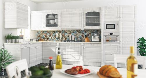 Cucina nuova bianca in legno, moderna, con cena\