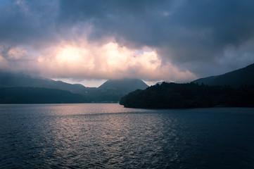 Scenic view of foggy and cloudy lake Ashi, Mount Fuji Area, Hakone, Japan