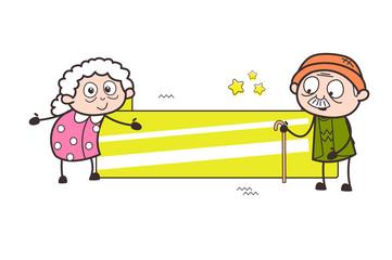Cartoon Grandpa and Grandma with Holiday Banner Vector Illustration