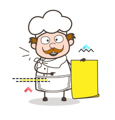 Cartoon Chef Showing Parchment Banner Vector Illustration