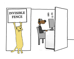 Business illustration showing one worker, a business cat, stating that the coworker's cubicle has an 'invisible fence' around it.